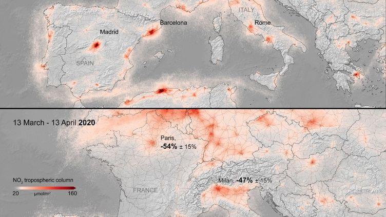 Des données envoyées par le satellite Sentinel-5P mettent en évidence une baisse desconcentrations de dioxyde d'azotepar rapport à la même période l'année dernière. (EUROPEAN SPACE AGENCY / AFP)