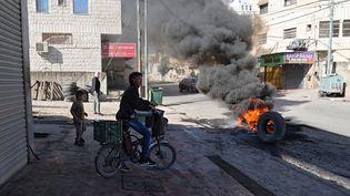 Des heurts ont éclaté à Borquin, en Cisjordanie occupée, le 26 septembre 2021. (JAAFAR ASHTIYEH / AFP)
