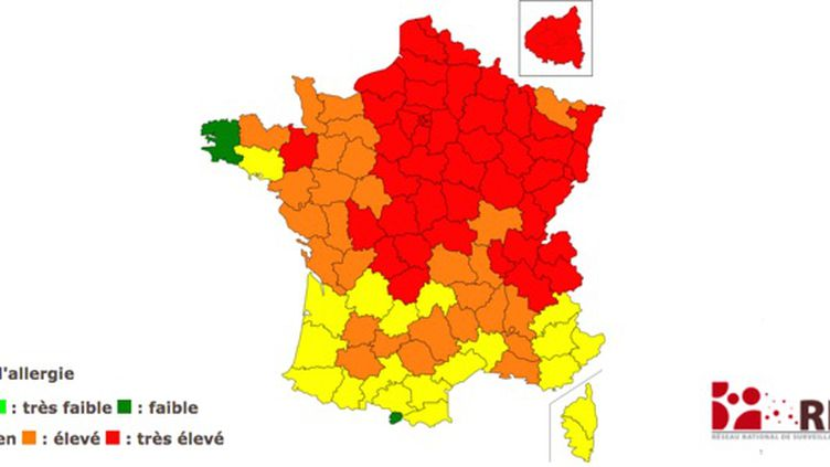 Carte de vigilance des pollens - valable jusqu'au 20 avril (RNSA)