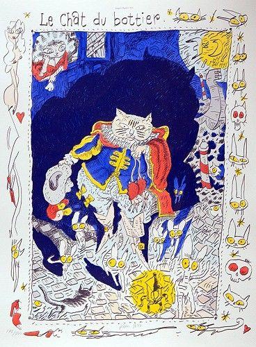 """""""Le chat du bottier"""", image d'Epinal réalisée par le dessinateur Joan Sfar  (Imagerie d'Epinal)"""