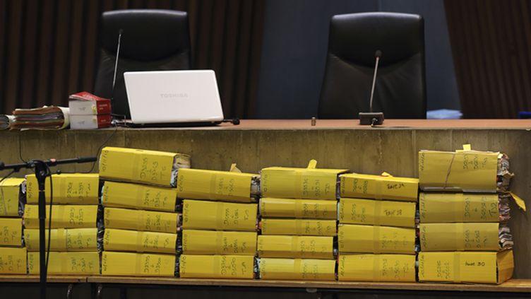 (Les dossiers de l'instruction du procès du Carlton © REUTERS / Pascal Rossignol)