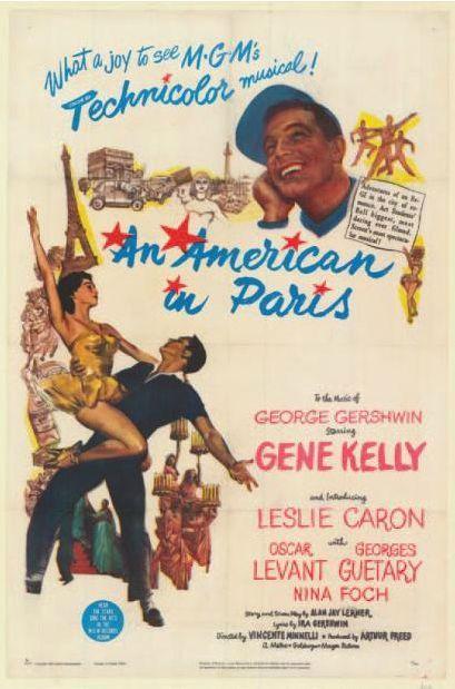 Un Americain à Paris de Vincente Minelli. Affiche française 1951.  (Néret-Minet  Tessier & Sarrou)