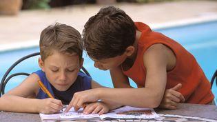 Deux petits garçons remplissent leurs cahiers de vacances au bord d'une piscine. (TILL JACKET / PHOTONONSTOP via AFP)