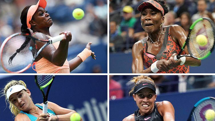 Les quatre demi-finalistes américaines de l'US Open 2017: Sloane Stephens (en haut à gauche), opposée à Venus Williams (en haut à droite), Coco Vandeweghe (en bas à gauche) face à Madison Keys (en bas à droite)