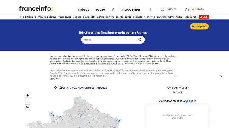 Les résultats des municipales 2020 sont accessibles via notre moteur de recherche. (FRANCEINFO)