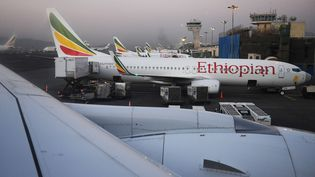 Avions d'Ethiopian Airlines à l'aéroport international Bole d'Addis-Abeba, en 2017 (WU FANG / IMAGINECHINA / AFP)
