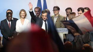 François Fillon lors de son meeting d'Aubervilliers (Seine-Saint-Denis), le 4 mars 2017. (GEOFFROY VAN DER HASSELT / AFP)