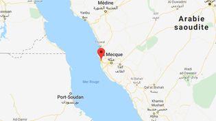 Les explosions se sont produites vendredi 11 octobre 2019 à une centaine de kilomètres au large du port saoudien de Jeddah. (GOOGLE MAPS)