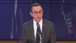 """Bruno Retrailleau,président du groupe Les Républicains au Sénat était l'invité du """"8h30franceinfo"""", jeudi 14janvier 2021. (FRANCEINFO / RADIOFRANCE)"""