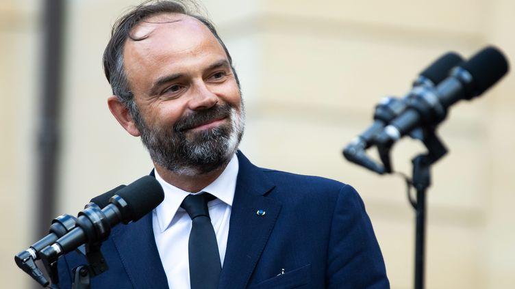 Edouard Philippe lors de la passation de pouvoirs avec le Premier ministre Jean Castex, à Paris, le 3 juillet 2020. (MAXPPP)