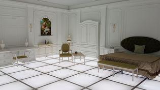 """Reproduction de la chambre de """"2001 : l'Odyssée de l'espace"""" de Kubrick au musée de l'air et de l'espace de Washington.  (Leo Mouren / AFP)"""