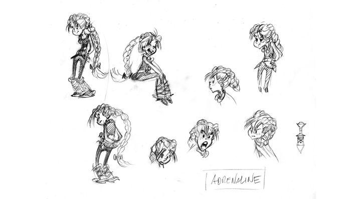 "Crayonnés d'Adrénaline, la nouvelle héroïne d'Astérix, dans ""La fille de Vercingétorix"" (© 2019 Les Editions Albert René / Goscinny - Uderzo)"