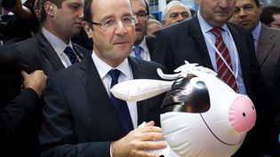 Le candidat socialiste François Hollande en visite au Salon de l'agriculture à Paris, le 29 février 2012. (MARLENE AWAAD / IP3 / MAXPPP)