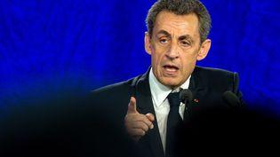 Nicolas Sarkozy lors d'un meeting du parti Les Républicains à Saint-André-lez-Lille (Nord), le 8 juin 2016. (PHILIPPE HUGUEN / AFP)