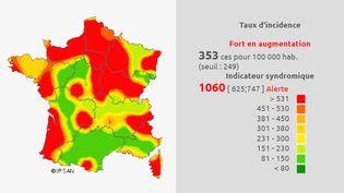 Carte de l'évolution de la gastro-entérite en France au 17 octobre 2016 (IRSAN)