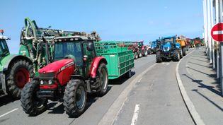 Des tracteurs bloquent une routent à Saint-Malo (Ille-et-Vilaine), le 21 juillet 2015 en Bretagne. (CEDRIC MAHOT / CITIZENSIDE / AFP)