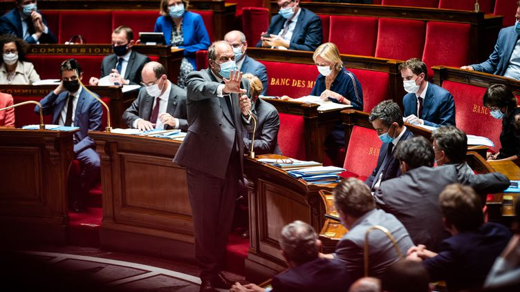 Le ministre de la Justice, Eric Dupond-Moretti, lors des questions au gouvernement à l'Assemblée nationale, le1er juin 2021. (XOSE BOUZAS / HANS LUCAS / AFP)