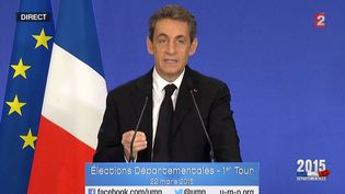 Nicolas Sarkozy, le 22 mars 2015, à Paris. (CAPTURE D'ECRAN / FRANCE 2)