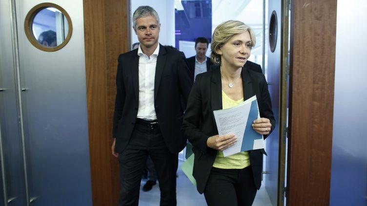 Laurent Wauquiez et Valérie Pécresse au siège des Républicains le 24 juin 2015. (THOMAS SAMSON / AFP)