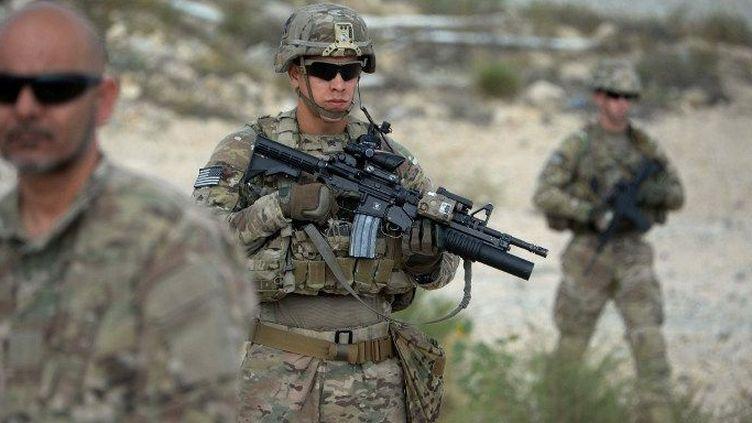 Province deNangarhar (Afghanistan), le 30 août 2015. Patrouille de soldats américains en collaboration avec l'armée nationale afghane dans une opération anti-taliban sous l'égide de l'Otan. (AFP PHOTO / Noorullah Shirzada)
