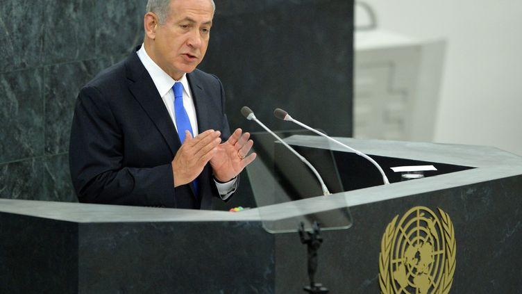 Le Premier ministre israélien, Benyamin Netanyahu, devant l'assemblée générale de l'ONU, le 1er octobre 2013 à New York. (STAN HONDA / AFP)
