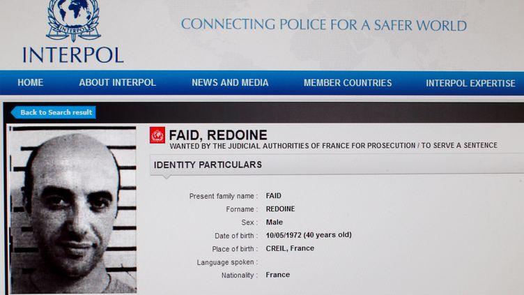 La fiche de Redoine Faïd sur le site internet d'Interpol. (INTERPOL / AFP)