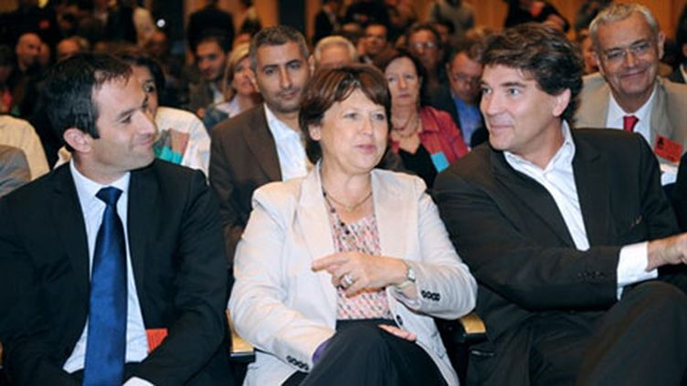 Benoît Hamon, Martine Aubry et Arnaud Montebourg (AFP - BORIS HORVAT)