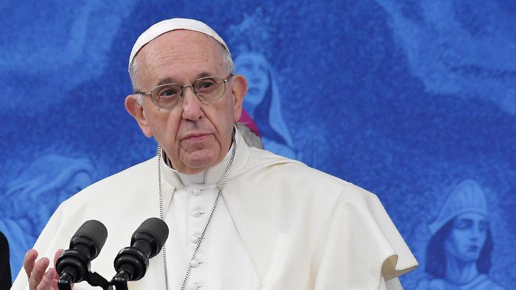 Le pape François au sanctuaire de Knock, en Irlande, le 26 août 2018. (TIZIANA FABI / AFP)