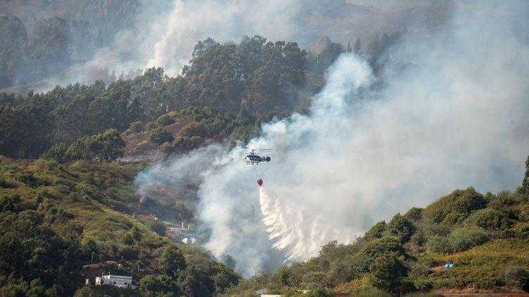 Un hélicoptère large de l'eau sur l'incendie de Grande Canarie (Espagne), le 19 août 2019. (DESIREE MARTIN / AFP)