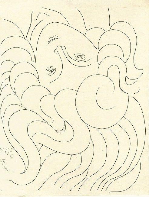 La Chevelure, eau-forte pour Poésies de Stéphane Mallarmé, 1932, coll. Part.  (Succession H. Matisse)