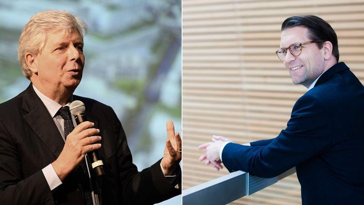 L'actuel directeur de l'Opéra de Paris, Stéphane Lissner (gauche), et son successeur, Alexander Neef (droite). (CHRISTOPHE ARCHAMBAULT / AFP // BO HUANG / CANADIAN OPERA COMPANY / AFP)