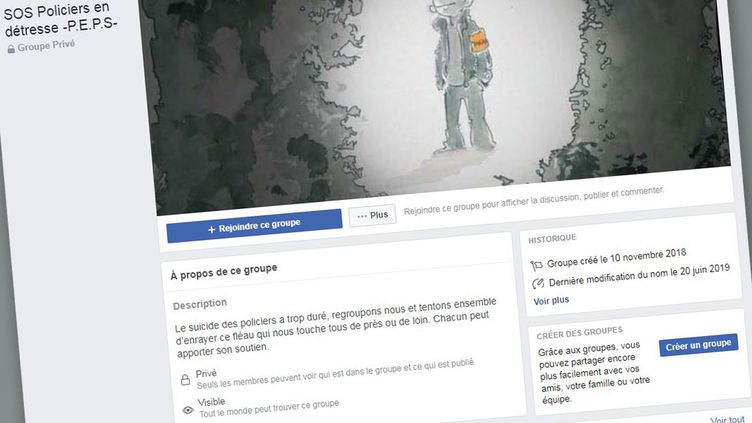 Page Facebook de l'association SOS Policiers en détresse (capture écran). (FACEBOOK)