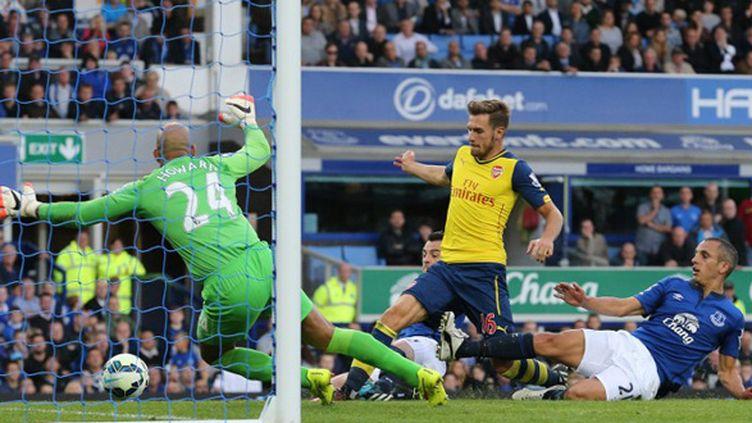 Aaron Ramsey (Arsenal) réduit le score face à Everton (LINDSEY PARNABY / AFP)