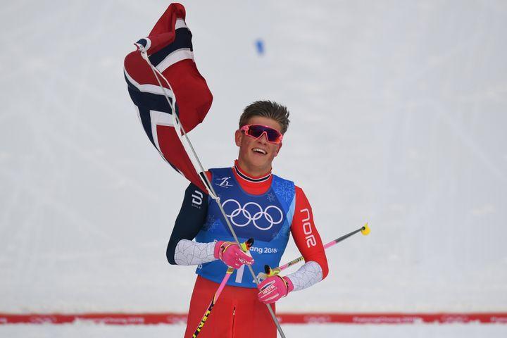 Johannes Klaebo triple médaillé d'or à PyeongChang (FRANCK FIFE / AFP)