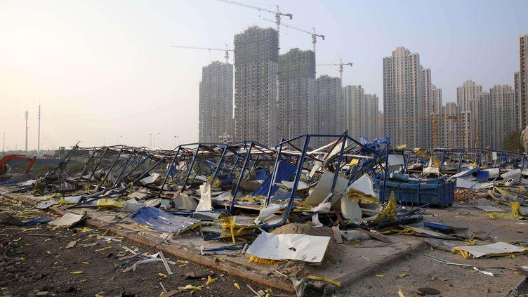 Les dégâts provoqués par une série d'explosions à Tianjin (Chine), le 12 août 2015. (TPG / NEWSCOM / SIPA)