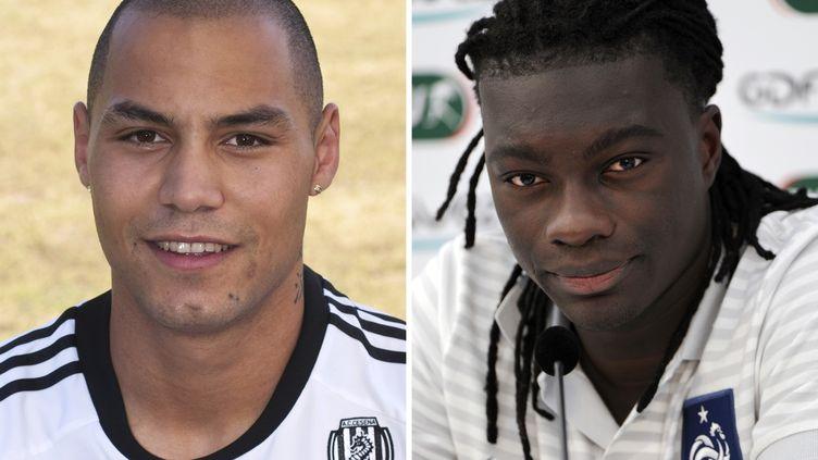 L'ancien joueur stéphanois Yohan Benalouane (à g.) etl'attaquant de l'Olympique lyonnais Bafétimbi Gomis (à dr.), dans un montage de l'AFP réalisé le 13 juin 2012. (BERTRAND GUAY / AFP)