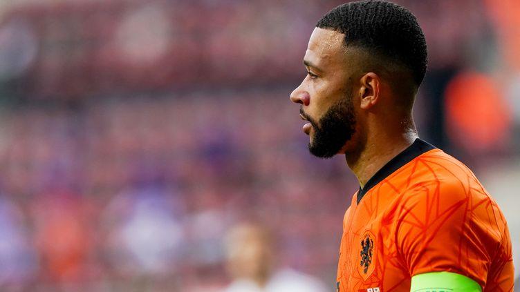 Memphis Depay, attaquant de la sélection néerlandaise et ancien joueur de l'OL, le 6 juin 2021. (ANDRE WEENING / ORANGE PICTURES)