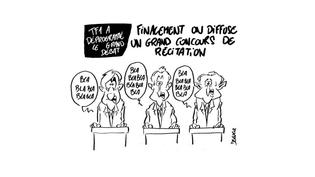Le premier débat télévisé entre les candidats à l'élection présidentielle vue par le dessinateur Delucq, le 20 mars 2017. (DELUCQ / TWITTER)