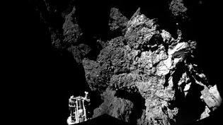 La première photo de la comète Tchouriprise et envoyée par le robot Philae, le 13 novembre 2014. (ESA / ROSETTA / PHILAE / CIVA / AFP)