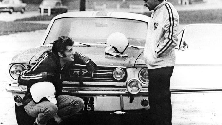 Johnny Hallyday participe pour la première fois au rallye de Monte Carlo pour le compte de l'écurie Ford, avec une Mustang, le 30 novembre 1966. (AFP)