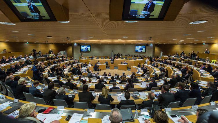 Les élus de la nouvelle régionAlsace-Champagne-Ardenne-Lorraine, lundi 4 janvier 2016 àStrasbourg (Bas-Rhin). (CLAUDE TRUONG-NGOC / CITIZENSIDE.COM / AFP)