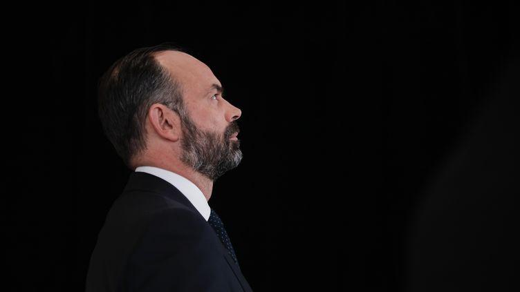 """Le Premier ministre Edouard Philippeavant un entretien au """"20 heures"""" deFrance 2, le 12 janvier 2020. (GEOFFROY VAN DER HASSELT / AFP)"""