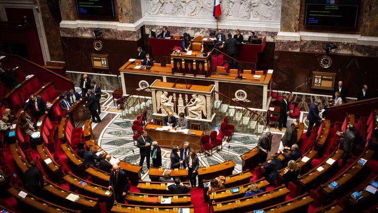 L'hémicycle de l'Assemblée nationale, le 3 mars 2020. (AMAURY CORNU / HANS LUCAS / AFP)