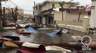 Une rue inondée à Saint-Martin, dans les Antilles françaises, le 6 septembre 2017. (GUADELOUPE 1ÈRE)