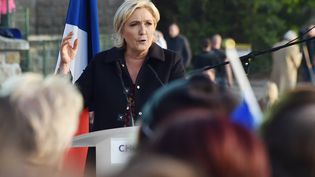 La candidate du Front national à l'élection présidentielle Marine Le Pen lors d'un discours à Ennemain (Somme), le 4 mai 2017. (PHILIPPE HUGUEN / AFP)