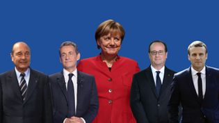Jacques Chirac, Nicolas Sarkozy, Angela Merkel, François Hollande et Emmanuel Macron. (ANSELME CALABRESE / FRANCEINFO)