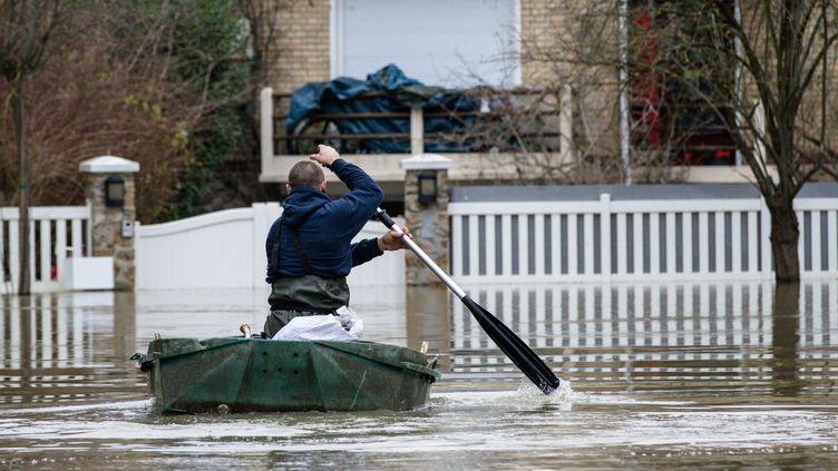 La crue de la Seine sur l'Île de Migneaux, dans les Yvelines, lundi 29 janvier 2018. (MAXPPP)
