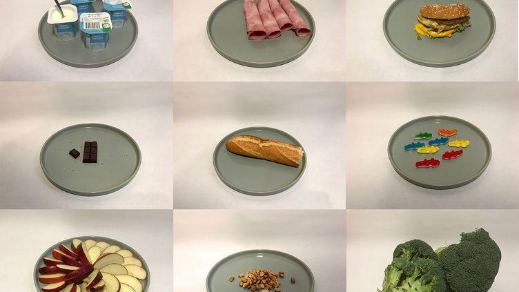 Des assiettes contenant 200 calories. (ROBIN PRUDENT / FRANCEINFO)