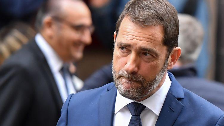 Christophe Castaner après une conférence de presse dans les locaux de la police de Toulon le 3 mai 2019. (GERARD JULIEN / AFP)