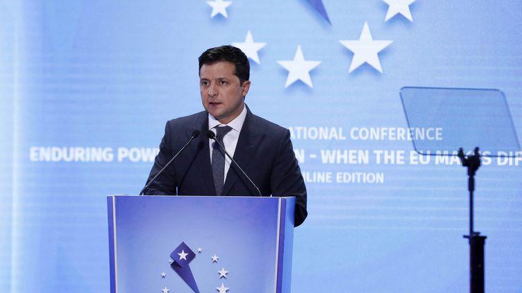 Volodymyr Zelensky, président de l'Ukraine, lors d'un sommet européen à Batumi, en Géorgie, le 19 juillet 2021. (- / GEORGIA'S PRESIDENTIAL PRESS SER / AFP)